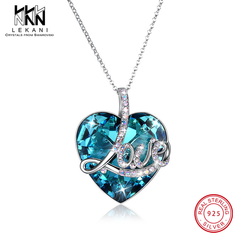 Luxury Embellished With Heart Crystals From Swarovski Pendant Necklace 925 Silver Long Chain LOVE Engagement Party Jewelry GiftLuxury Embellished With Heart Crystals From Swarovski Pendant Necklace 925 Silver Long Chain LOVE Engagement Party Jewelry Gift
