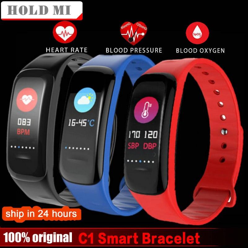 Hold Mi Bluetooth C1 Color LCD Smart bracelet Blood Pressure Oxygen Heart Rate Monitor Fitness Tracker Sport Smart Wristbands