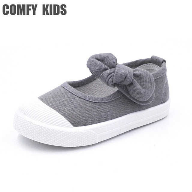 Comfy kids child Baby Girl Shoes Canvas Casual With Bowtie Bow-knot Solid  Candy Color Girls Sneakers Children Soft Shoes 21-30
