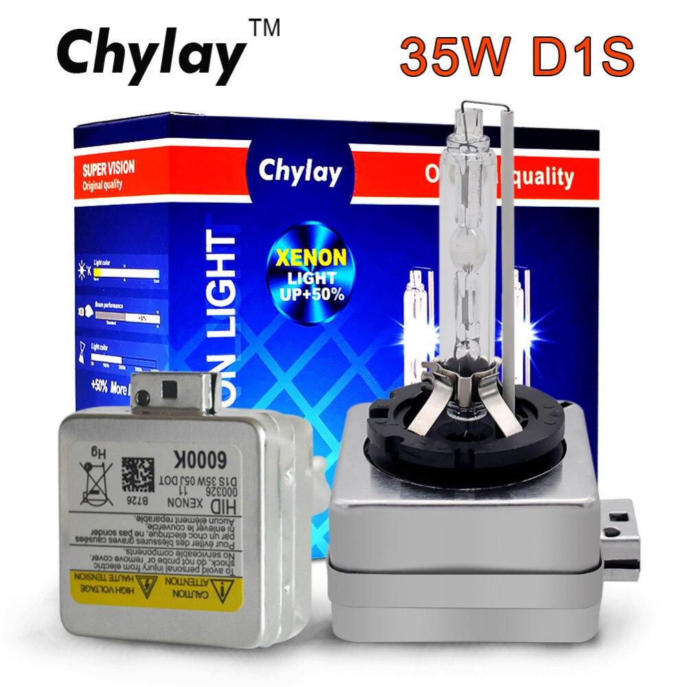 2X xenón D1S D1C 35 W bombillas calidad Original Chylay marca con soporte de Metal protección para linterna del coche de 4300 K 5000 K 6000 K 8000 K