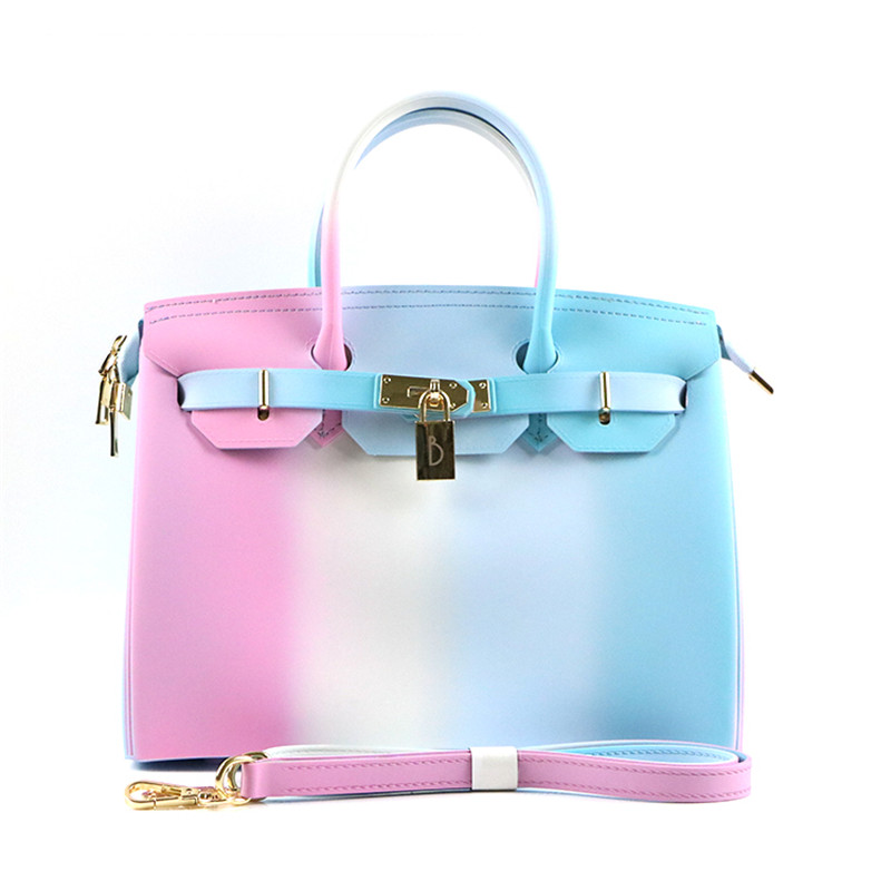 rainbow bags PVC Silicone jelly handbags luxury handbags women bags designer Zipper bags for women 2017 with scarf ME798