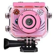 Bonito crianças câmera de vídeo digital 1080p ação esportes câmera 30m impermeável built in presentes da bateria presente para crianças meninos menina