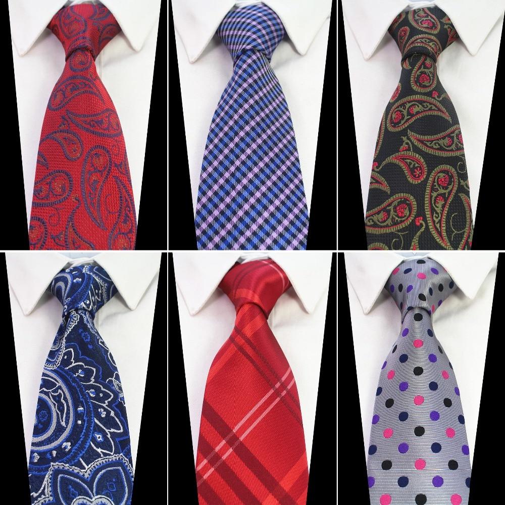 RBOCOTT Nová módní hedvábná kravata 8cm hnědá Paisley kravaty pro muže modrá květinová krk svázaná červená gradientní kravata pro svatební podnikání