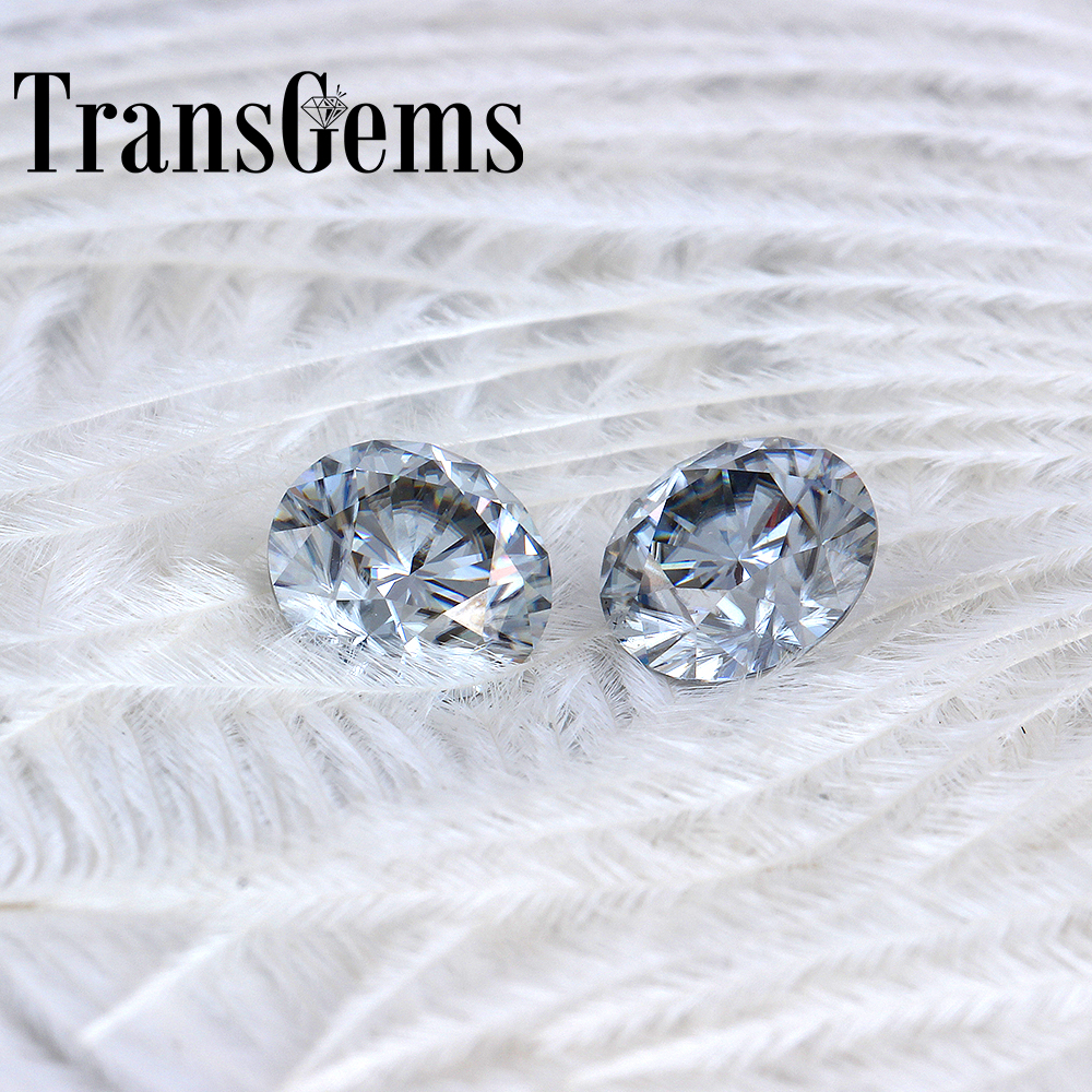 TransGems 8mm 2Carat grey Color Certified Man made Diamond Loose Moissanite Bead As Real Diamond Gemstone 1pcs-in Loose Diamonds & Gemstones from Jewelry & Accessories    1