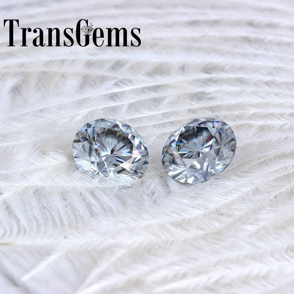 TransGems 8mm 2Carat grey Color Certified Man made Diamond Loose Moissanite Bead As Real Diamond Gemstone 1pcs