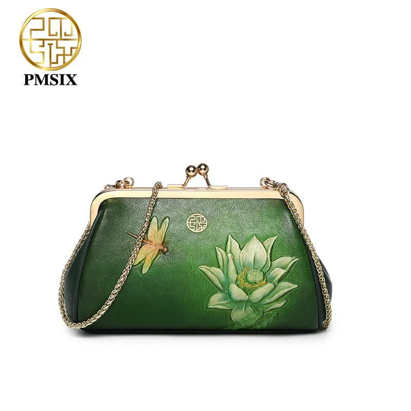 Pmsix luxurious ladies bags Real Genuine leather embossed flowers Messenger bag for women metal long straps