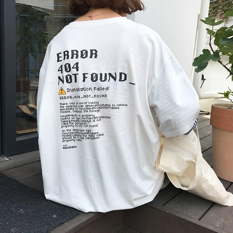 2019 nueva moda de invierno de la carta del viento suelto impreso manga larga Casual mujer Camisetas
