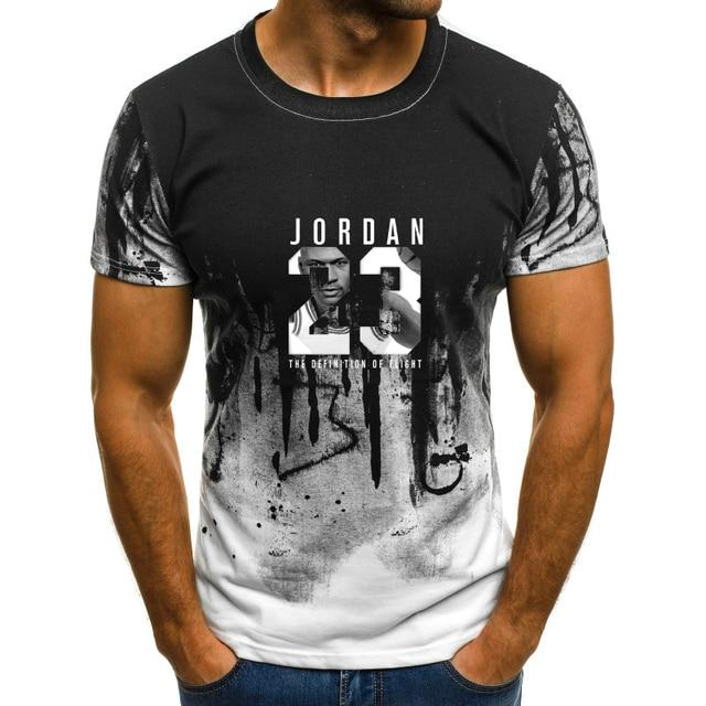 829675e0a58e Летняя мужская футболка Jordan 23, Мужская камуфляжная футболка с круглым  вырезом и принтом 23,