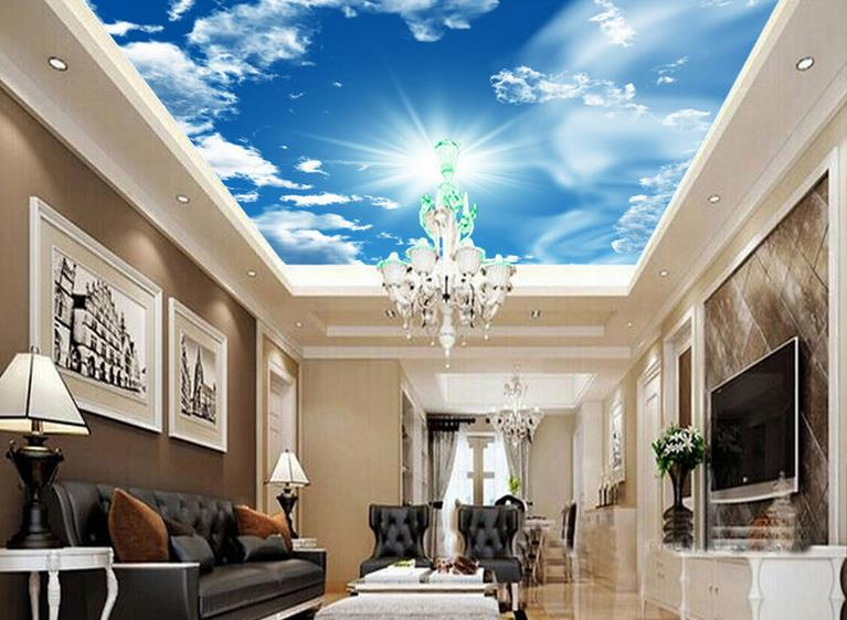 custom 3d stereoscopic sky ceiling wallpaper Blue sky 3d ceiling murals 3d wallpaper living room 3d ceiling luxury wallpaper custom 3d stereo ceiling mural wallpaper beautiful starry sky landscape fresco hotel living room ceiling wallpaper home decor 3d