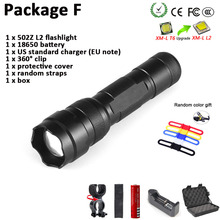 502Z CREE XM-L2 1000Lumen 18650 Zoom Spotlight 1 Mode Waterproof Outdoor Torch Hunting Tactics LED High Power Flashlight New Set