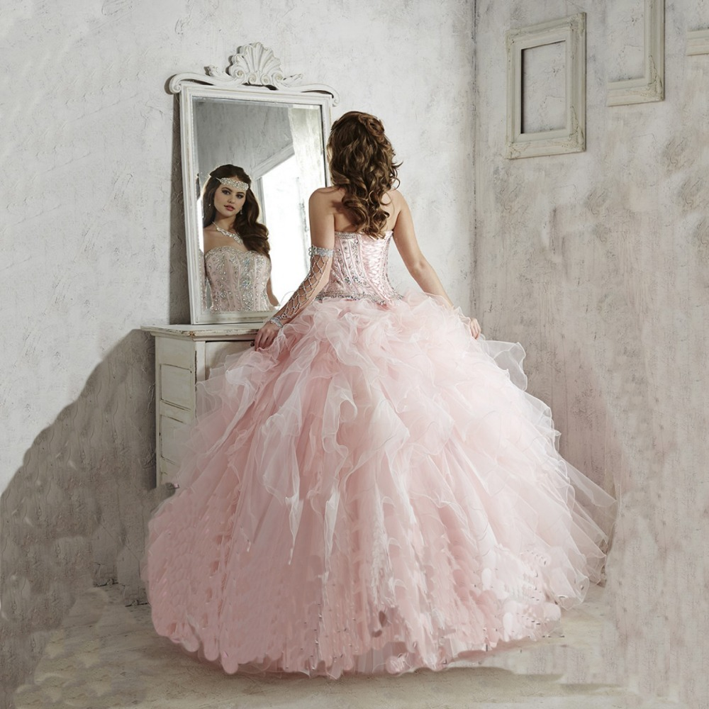 Fuchsia Gown: 2015 Light Pink Quinceanera Dress Ball Gown Sweetheart