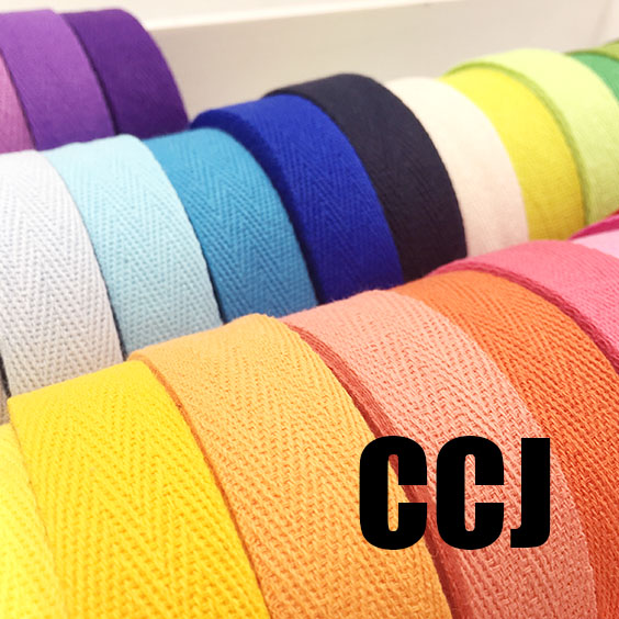 (20mm) COLOR Herringbone/ Twill Cotton Tape/Cotton Webbing