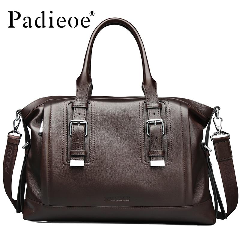Padieoe Vintage Design Men's Travel Bag Fashion Casual Tote Bag Genuine Leather Business Shoulder Bag Luxury male Travel Duffle цена 2017