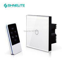 Free Shipping Shinelite Remote Switch White Crystal Glass Panel Home Remote Light Switch UK Standard