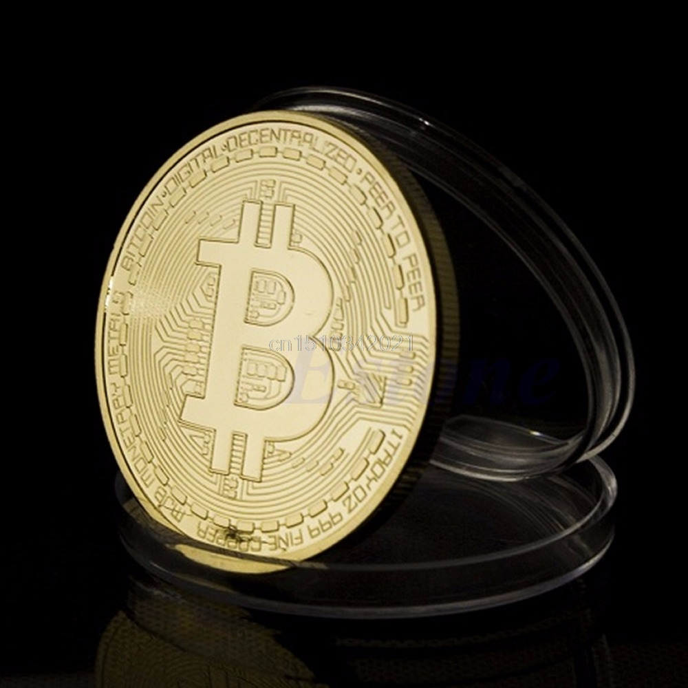 1Pc Gold Plated BitCoin Coin Collectible Gift BTC Coin Art Collection Physical Souvenir