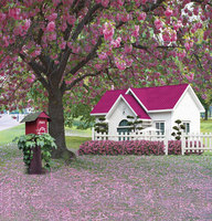 Blooming Flowers Red Roof House 5X7ft Fotografica Background for Photo Studio Wedding Photography Vinyl Backdrops