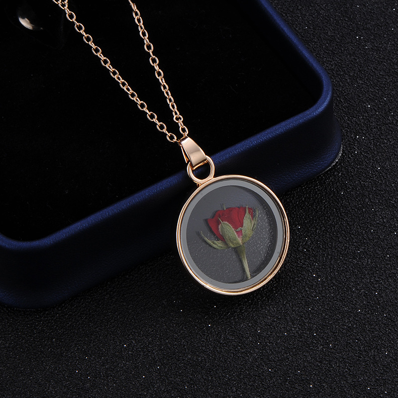 Trendy Gold Silver Dried Real Safflower Pendant Necklace Romantic Rose Flower Transparent Round Glass Pendant Jewelry For Lover