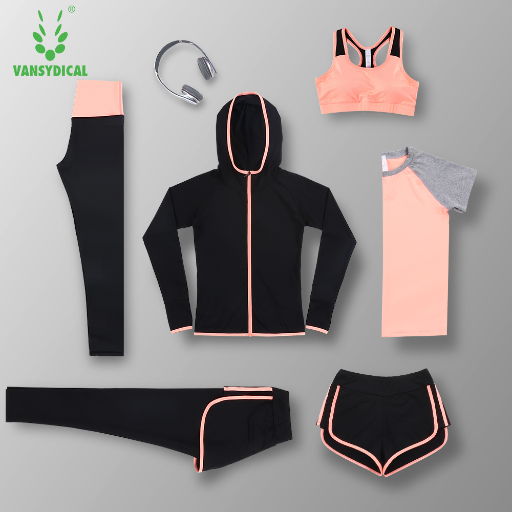 Brand 2017 New 6pcs Yoga Sets Women Gym Clothes Polyester Blends Material Breathable Sports Bra + Pants + Shirt Yoga Set Women b bang new 2015 women sports bra push up breathable bra for running fitness workout gym underwear crop tops for women 6 colors