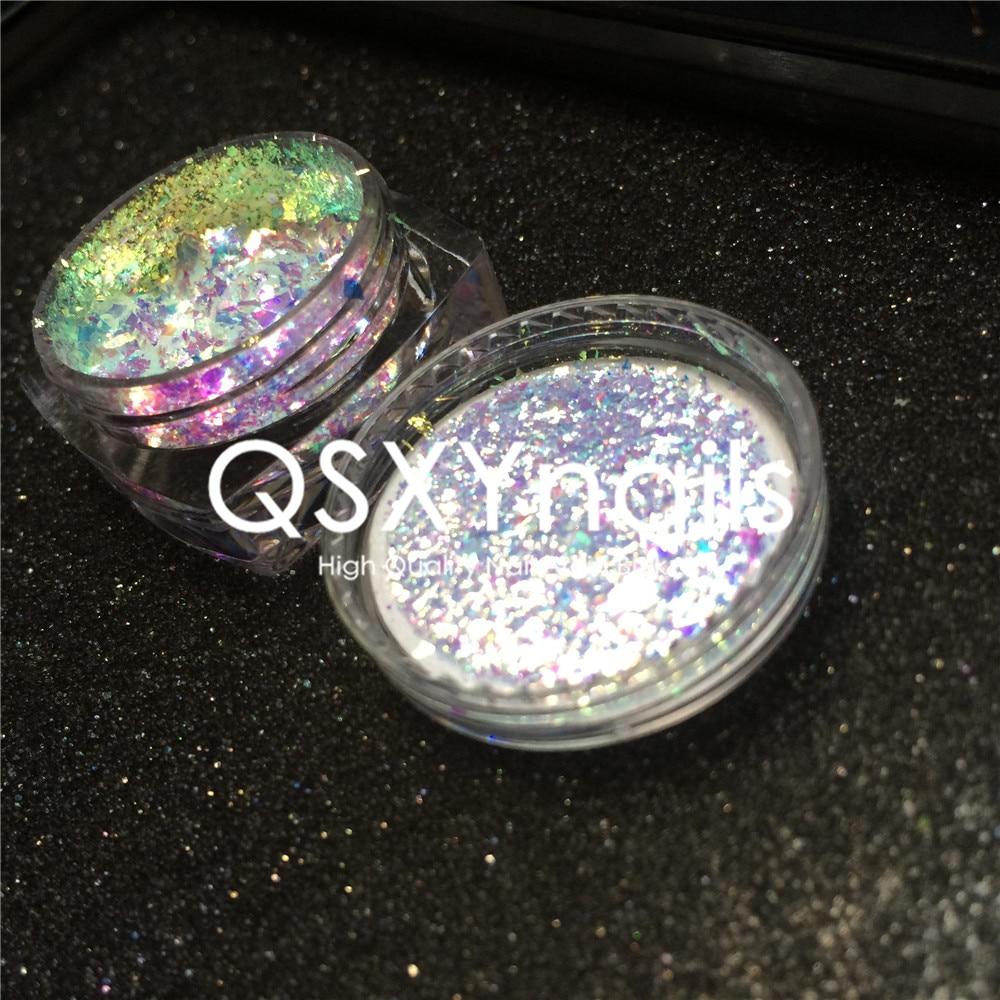 Unicorn Nails Pigment Glitter Flakes-Powder Nail-Art-Manicure Chrome-Mirror Neon Chameleon