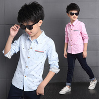 Boys Shirts Long Sleeve Floral Children Clothing Cotton Striped Boys Tops School Kids Clothes Teenage Shirts