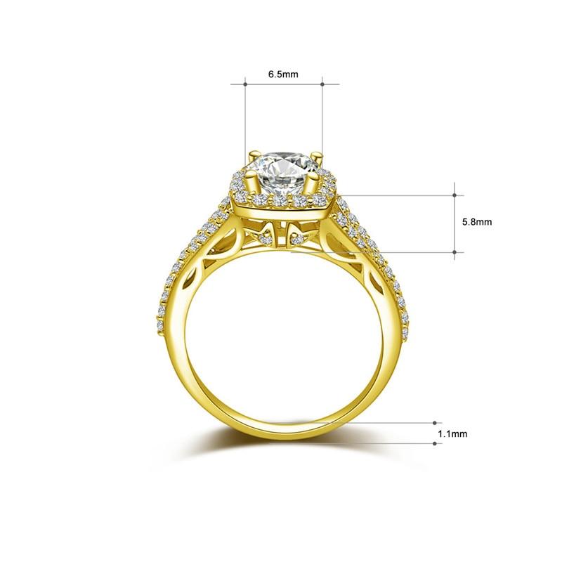 AINUOSHI 10k Solid Yellow Gold Bridal Ring 4 Prongs 1ct Round Cut SONA Diamond Wedding Engagement Jewelry Square Halo Round Band