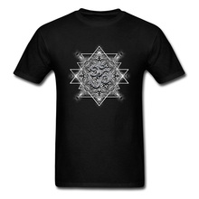 T Shirt Mens Clothing Shirt OM Tribal Geometry VALENTINE DAY Short Sleeve 100% Cotton Round Neck Men T Shirts Printed On Retro round beach throw with tribal maya totem printed