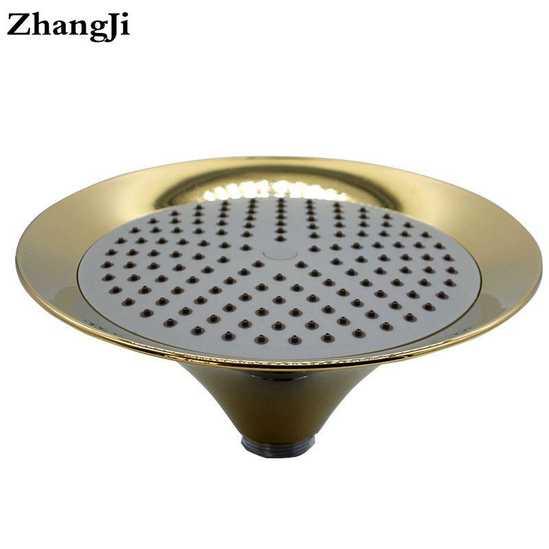 ZhangJi Bathroom Copper plating Rainfall shower heads 9 inch abs plastic wall mounted waterfall Showerhead Funnel head ZJ036