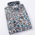Hot Sale Size: M-4XL / 2017 New Fashion Floral Print Slim Fit Shirts Men's Long Sleeve Casual Dress Shirts 15 Colors