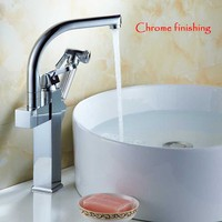 New Brand Chrome Gold Nickel Brushed Single Handle Kitchen Faucet Pull Out Vessel Sink Mixer Tap