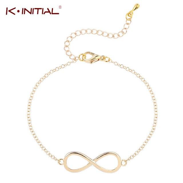 6d13c94ad53b Kinitial 1 unids oro plateado cadena del encanto infinito pulsera afortunada  ocho Pulseras y brazaletes para