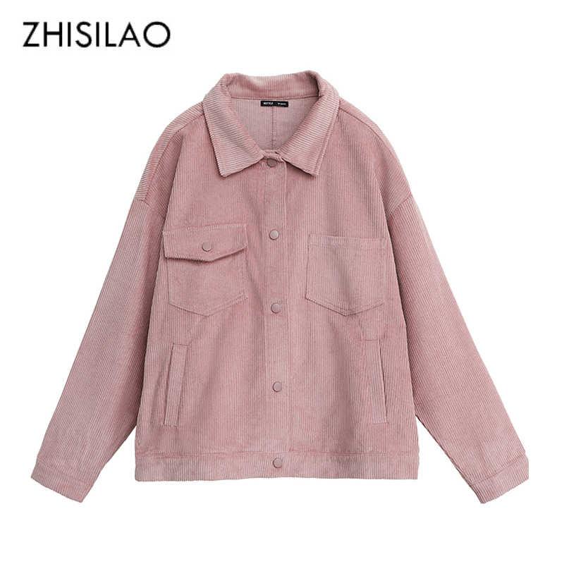 a21198fbf12 Zisilao однотонная Вельветовая куртка женская осень-зима розовое пальто с  длинным рукавом Повседневная Зеленая куртка