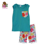 Factory Selling Clothes Round Neck Sleeveless Blue Blouse + Print Pattern Pants With Hairball Small Fresh Children Clothing S106
