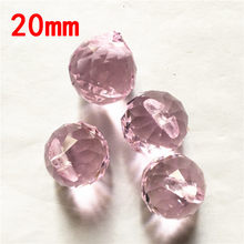 Pendant Light Parts 20pcs Balls 20mm Pink Crystal Prism Pendant Hanging Prism Suncatchers For Dining Room Lights(China)