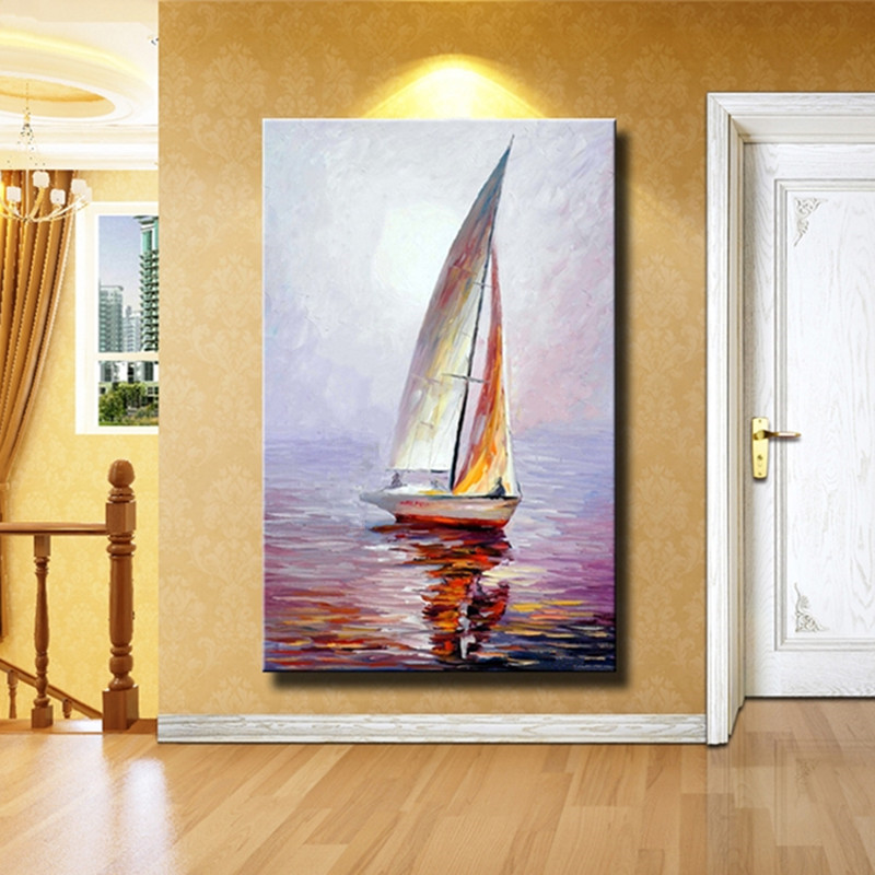 Wholesale High Quality Abstract seascape Oil Painting On Canvas Handmade Beautiful Color Abstract Landscape sailboat Paintings