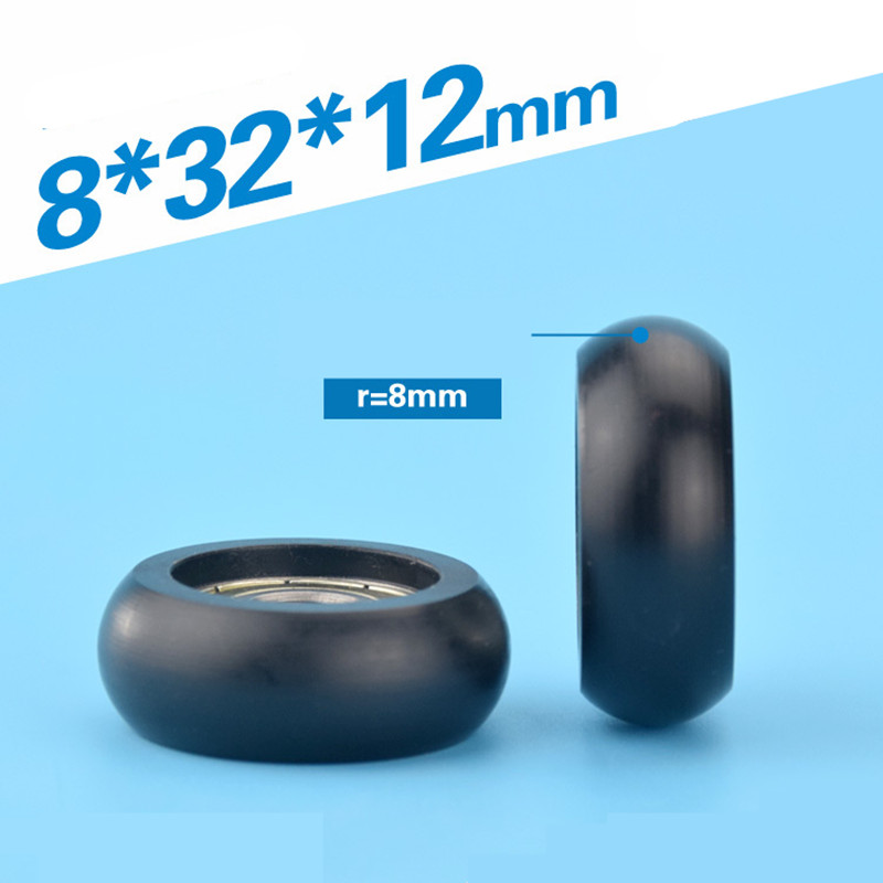1pcs 8*32*12mm Inner Diameter 8mm Plastic-coated Nylon Bearing Pulley, Embedded 608ZZ, Spherical Cam Roller