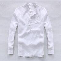 2017 אביב ובקיץ אופנה גברים 100% חולצת פשתן לבן זכר חולצות שרוול ארוך mens מעצב חולצות גברים חולצה מותג camisa