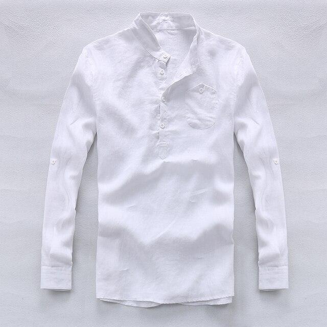 fcda847d4ff 2017 Весна и лето 100% льняная рубашка мужская белая мужская мода рубашки  дизайнер бренда рубашки