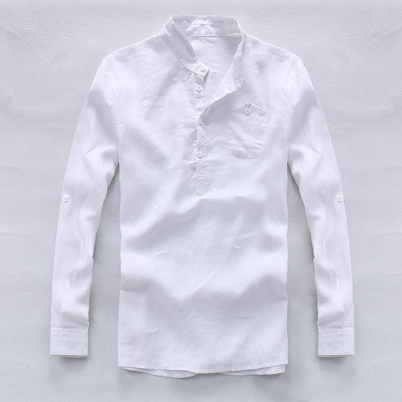 2017 Spring and summer 100% linen shirt men white fashion men shirts designer brand shirt mens long sleeve shirts male camisa ...