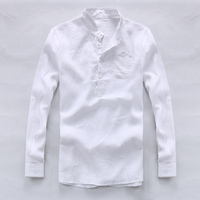 2017 Spring And Summer 100 Linen Shirt Men White Fashion Men Shirts Designer Brand Shirt Mens