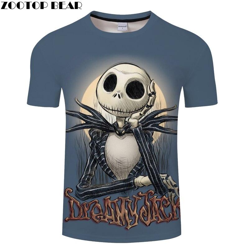 Jack Prints tshirt Men t shirt 3d Top Tee Skull t-shirt Short Sleeve Halloween Camiseta Mens Clothes 2018 Drop Ship ZOOTOP BEAR