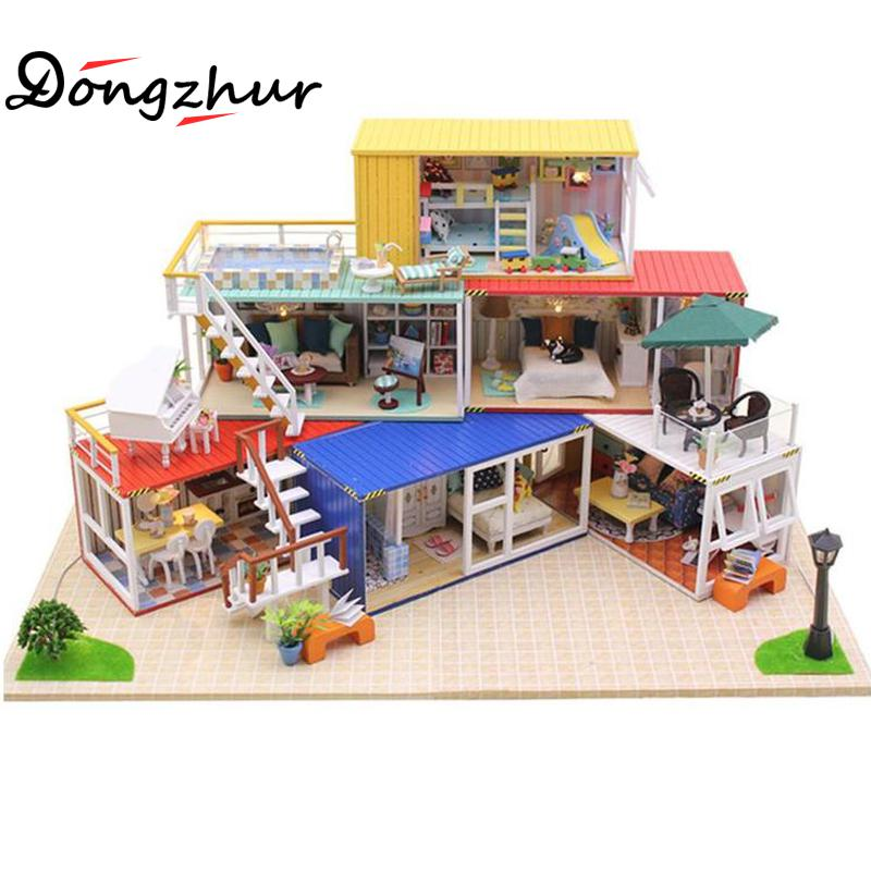 Dongzhur Doll Toy House DIY Hut Handmade Assemble Villa Model House 3d Puzzle Miniature Room Box Learning Education Toys For Kid ds381b wooden 3d army puzzle toy model anti air vehicles diy assemble toys boys free shipping usa brazil