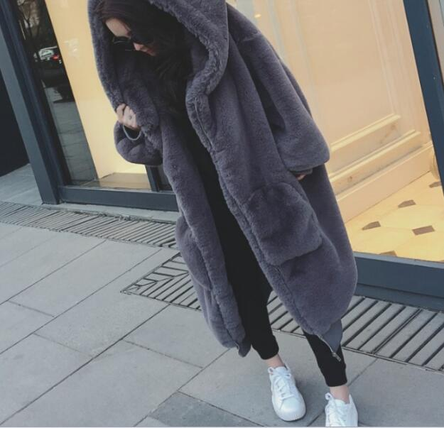 Oversized Winter Warm hooded Large size Long Solid color Faux Fur Coat 2018 New Casual Long sleeve Women Fur Jacket Outwear