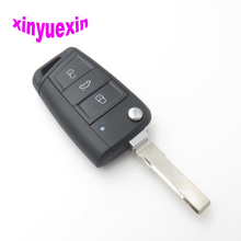 Xinyuexin Flip Remote Car Key Shell FOB Case For VW Golf 7 Skoda Octavia A7 3Button Replacement No Logo