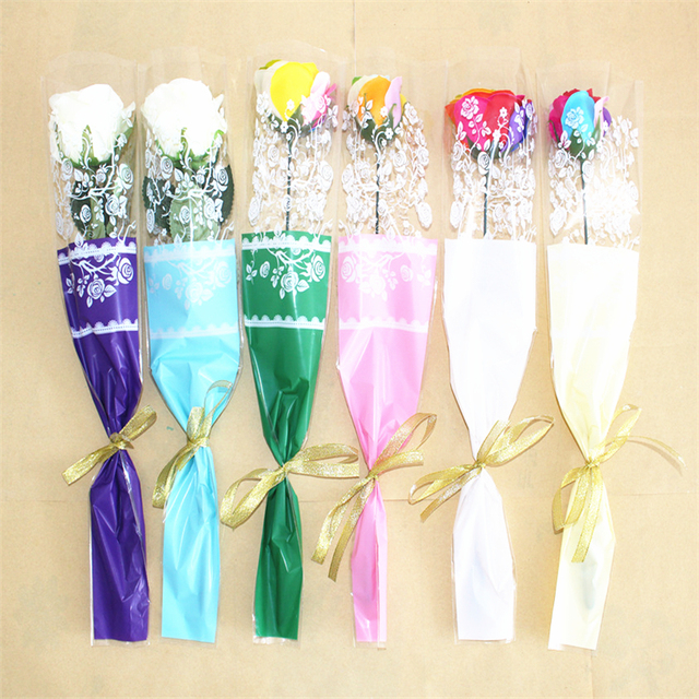 100pcs best selection rose lace bag single flowers bouquet wrapping paper plastic bag packaging materials without flower in craft paper from home 100pcs best selection rose lace bag single flowers bouquet wrapping paper plastic bag packaging materials mig
