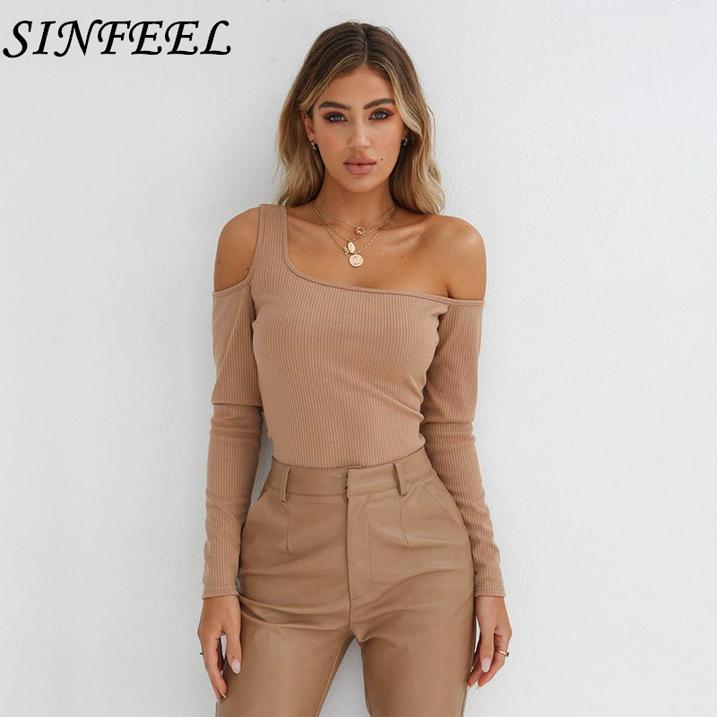 SINFEEL Knitted T shirt Women Autumn Spring 2018 Womens Tops Sexy Off Shoulder Long Sleeve T-shirt Casual Tee Shirts