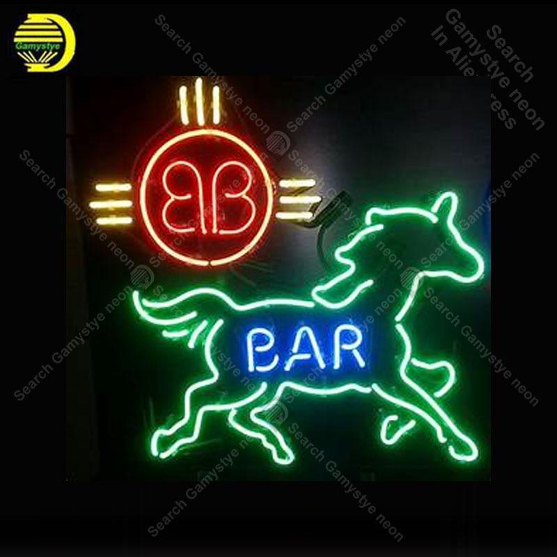 Sinal de néon para a barra cerveja cavalo tubo vidro decoração do quarto janelas casa artesanato restaurante luz sinal lâmpadas anuncio luminoso