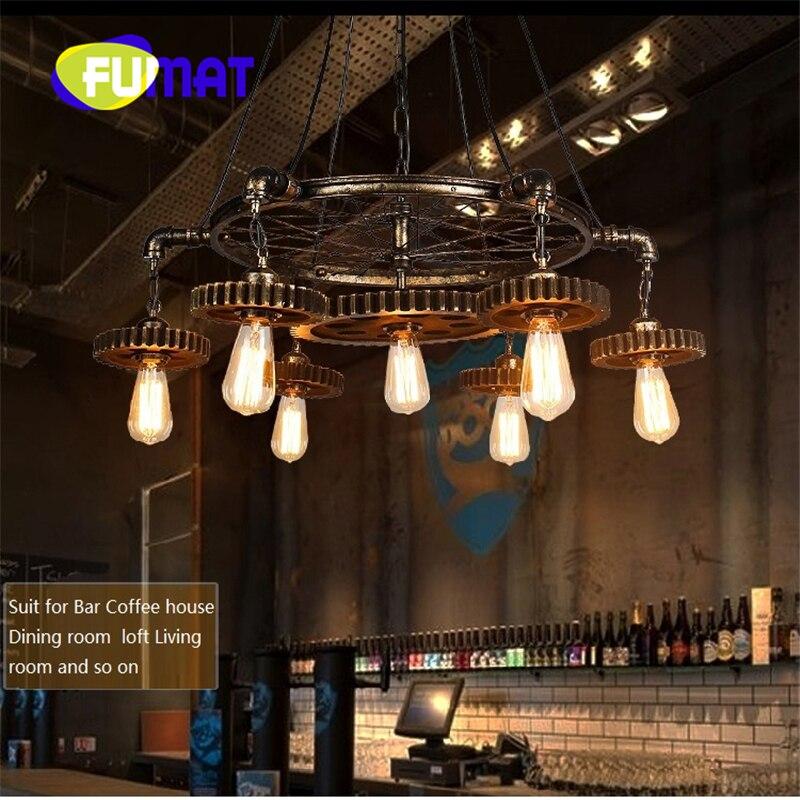 Фумат промышленных Винтаж Loft ретро Стиль Шестерни подвеской свет 7lights с Edison лампы люстра лампа