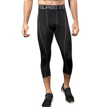 Mens Training Compression Pants Cool-Dry Letters Wide Mid waisted Tights Stripes Printed 3/4 Running Leggings Athletic Baselayer