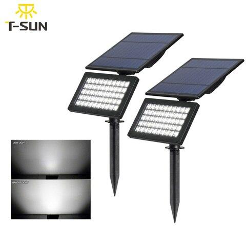 t sunrise 2 pcs pacote 5 w spotlight solar ajustavel 50 leds luz solar ao