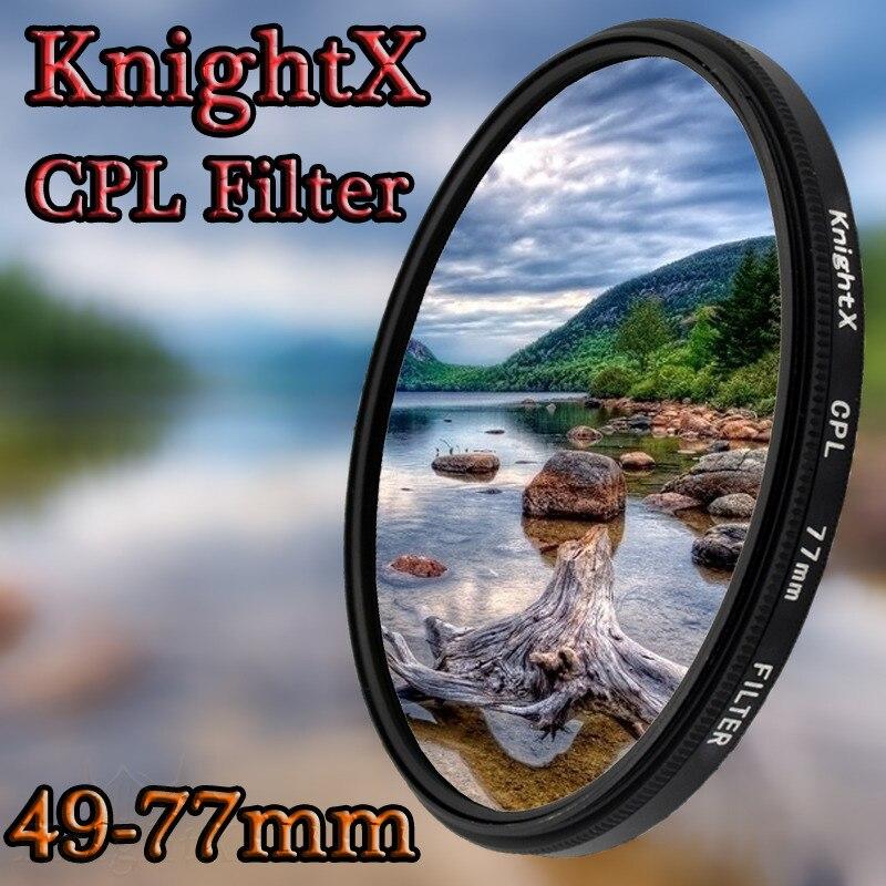 KnightX 49mm 52mm 55mm 58mm 67mm 77mm cpl Filtro polarizzatore per Canon Nikon Sony DSLR SLR Lenti per fotocamere Nikon D7000 D5200 D5100